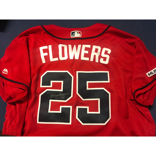 Photo of Tyler Flowers Game-Used Autographed Jersey