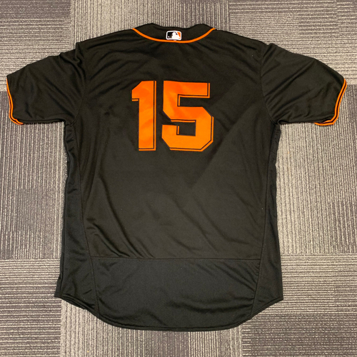 Photo of 2018 Game Used Black Alt Home Jersey worn by #15 Bruce Bochy - Size 52