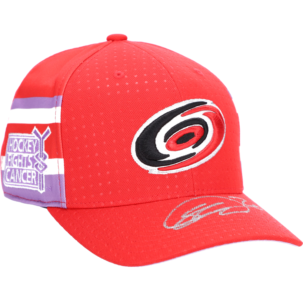 Sebastian Aho Carolina Hurricanes Autographed Hockey Fights Cancer Cap - NHL Auctions Exclusive