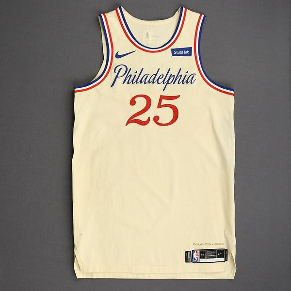 Image of Ben Simmons - Philadelphia 76ers - Christmas Day' 19 - Game-Worn City Edition Jersey - Double-Double