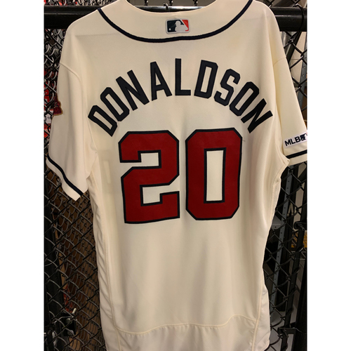 Photo of Josh Donaldson Game Used Home Ivory Jersey - Worn 7/7/19 for 200th Career Home Run