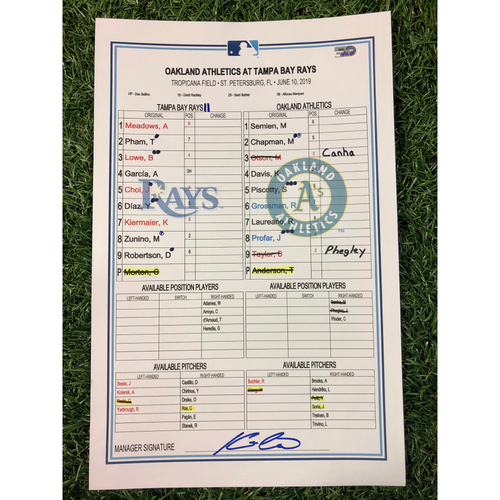 Game Used Lineup Card: Charlie Morton (W, 7.0IP, 7 SO) and Brandon Lowe (14), Kevin Kiermaier (8) and Ji-Man Choi (7) Home Runs - June 10, 2019 v OAK