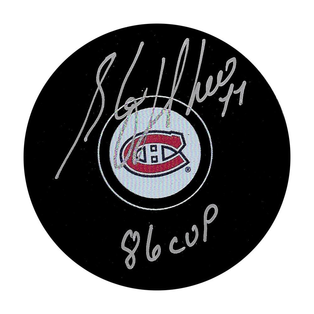 Stephan Richer Autographed Montreal Canadiens Puck w/86 CUP Inscription