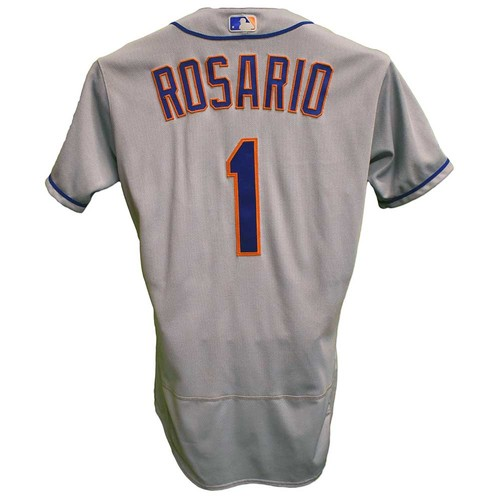 Photo of Amed Rosario #1 - Game Used Road Grey Jersey - Rosario Goes 3-5, 3 RBI, 1 Run Scored - Mets vs. Royals - 8/18/19