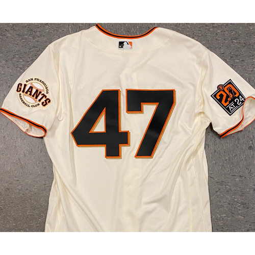 Photo of 2020 Team Issued Home Cream Jersey - #47 Johnny Cueto - Size 46