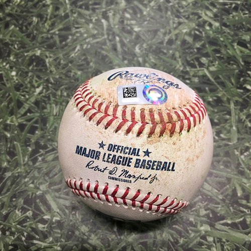 Photo of Game-Used Baseball CIN@MIL 07/09/21 - Miguel Sanchez - Wade Miley: Double (1), Advances to Third Base on Throwing Error