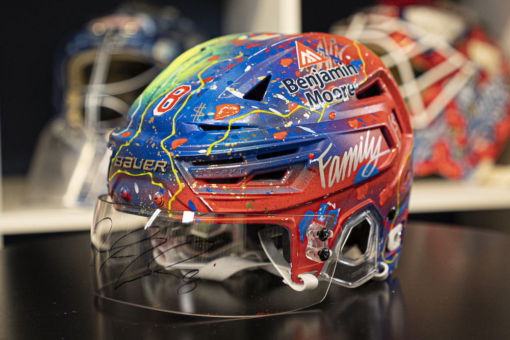 Custom painted New York Rangers helmet inspired and signed by #8 Jacob Trouba.