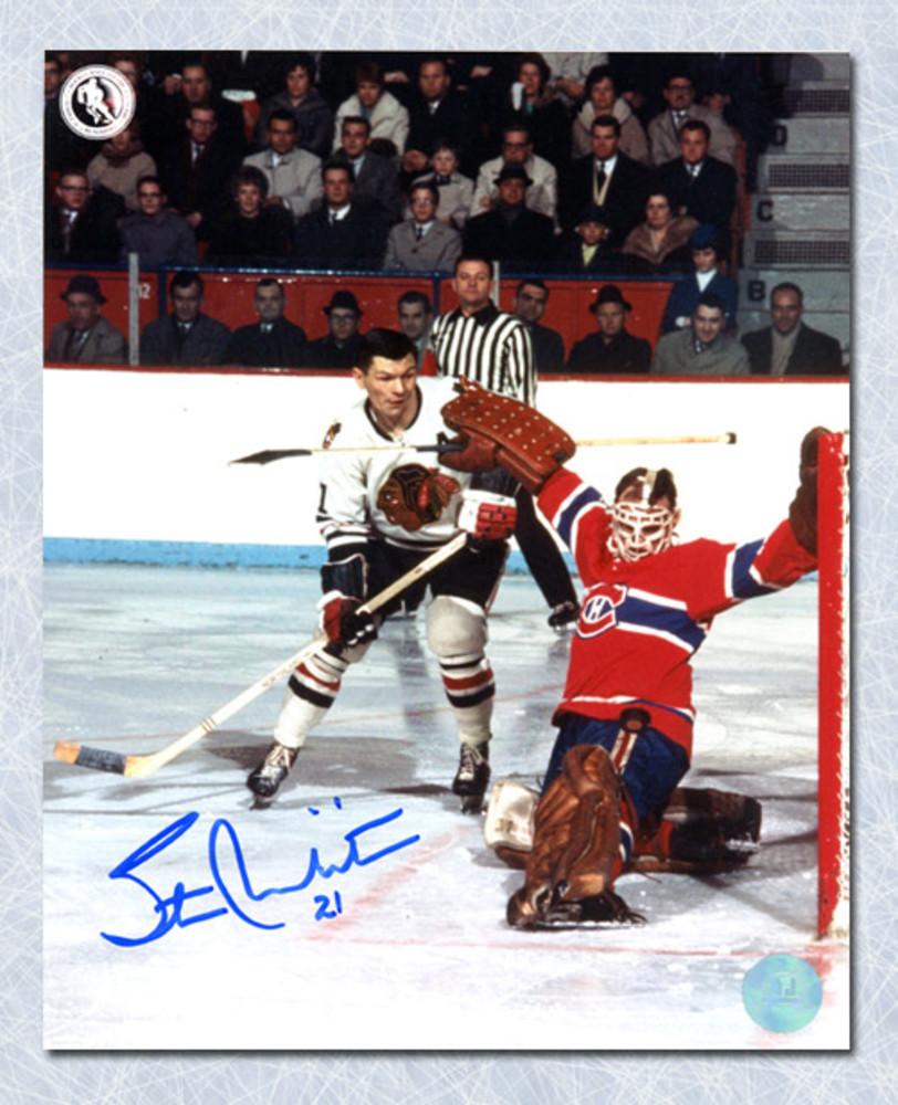 Stan Mikita Chicago Blackhawks Autographed Shooting vs Montreal 8x10 Photo