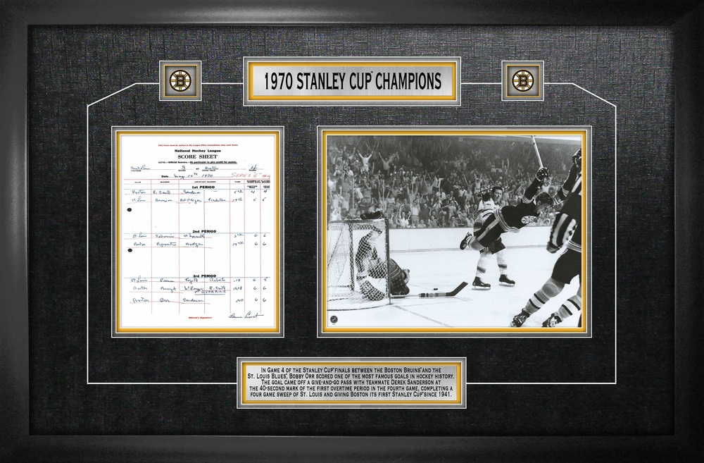Bobby Orr - Framed Scoresheet Collage Boston Bruins 1970 Stanley Cup - The Goal
