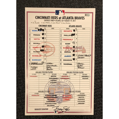 Photo of Game-Used Lineup Card - 8/19/17 - Reds at Braves - Today Only $35!