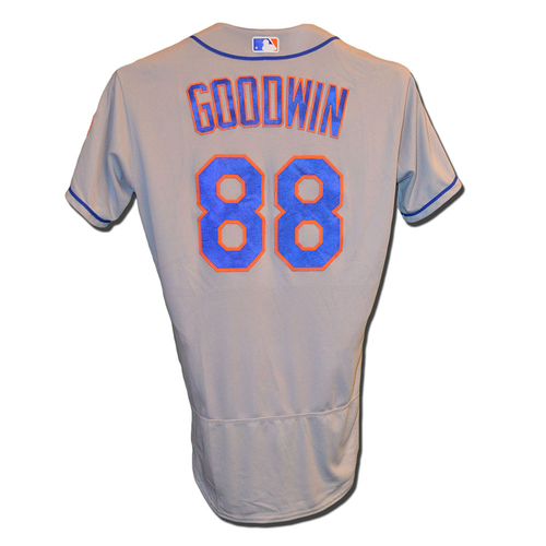 Photo of Tom Goodwin #88 - Game Used Road Grey Jersey - Mets vs. Phillies - 9/30/17