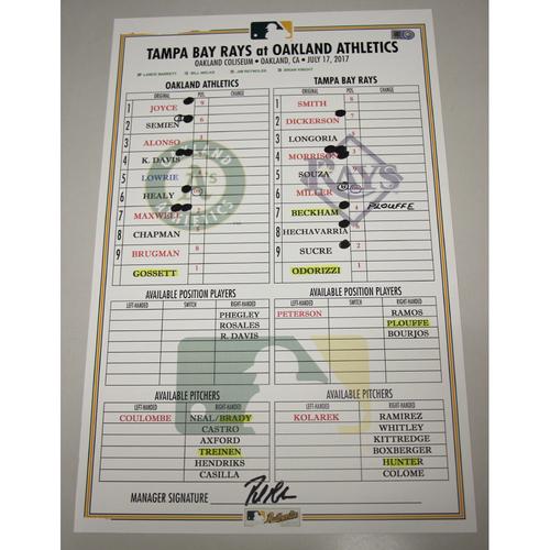 Photo of Lineup Card - 7/17/17 Tampa Bay Rays vs Oakland Athletics