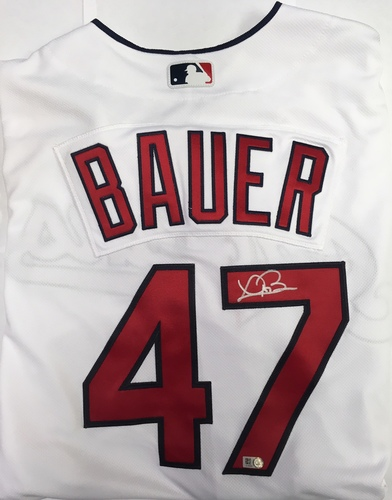 Photo of Trevor Bauer Autographed Authentic Indians Jersey