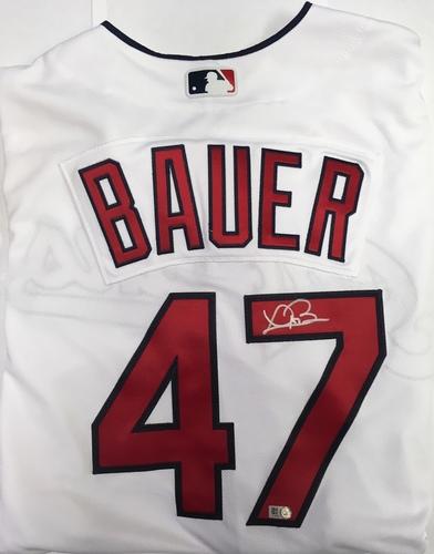 Trevor Bauer Autographed Authentic Indians Jersey