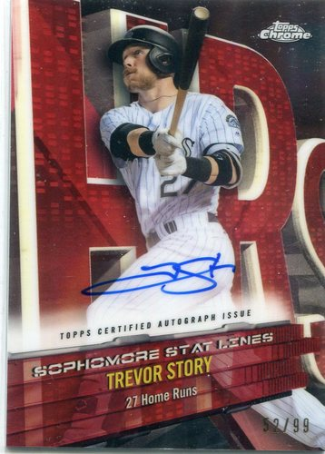 Photo of 2017 Topps Chrome Sophomore Stat Lines Autographs Trevor Story 52/99