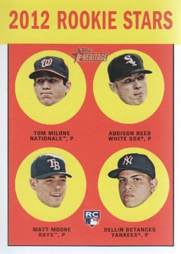 Photo of 2012 Topps Heritage #286 Tom Milone RC/Addison Reed RC/Matt Moore RC/Dellin Betances RC