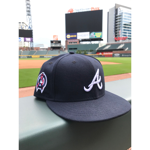 Photo of Ronald Acuna Jr. MLB Authenticated Game Worn New Era 9/11 Remembrance Cap (Size 7 5/8)