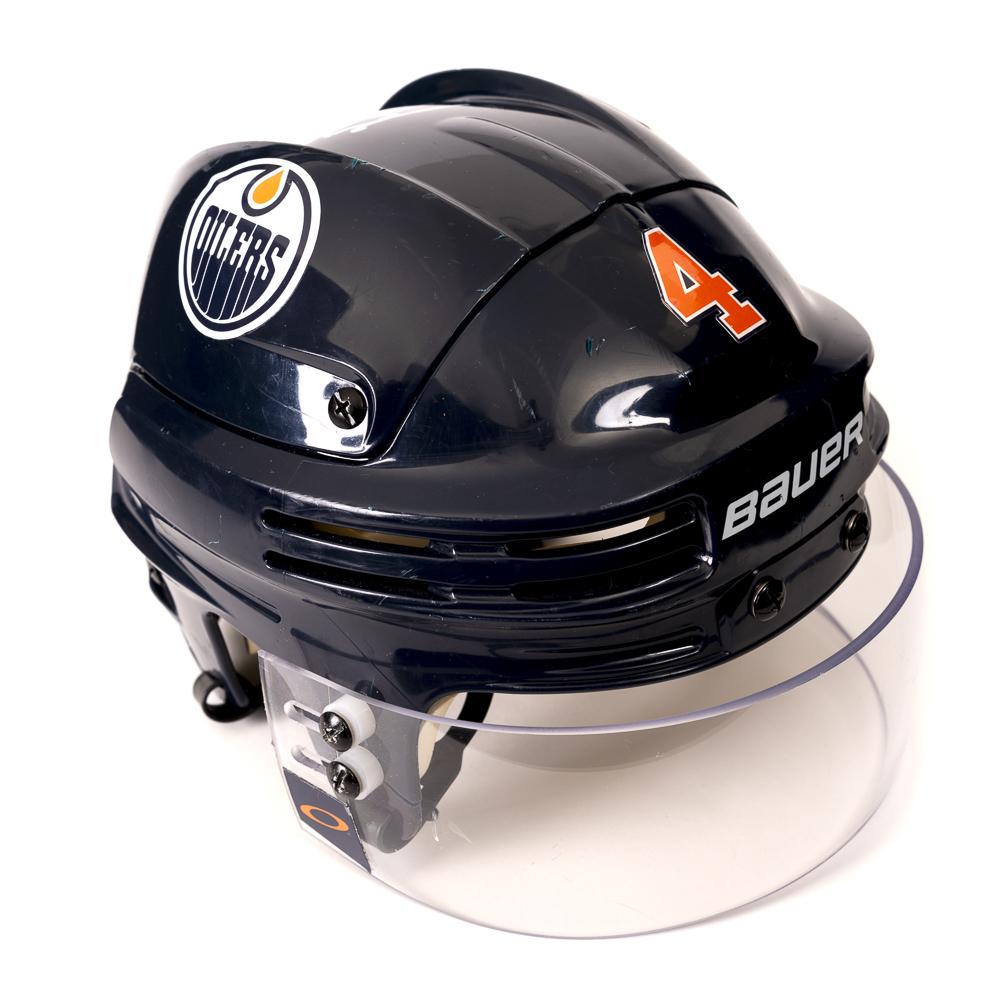 Kris Russell #4 - Autographed 2018-19 Edmonton Oilers Game-Worn Navy Blue Bauer Helmet (Second Half Of Season)