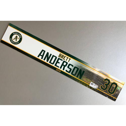 Photo of Team-Issued Brett Anderson 2019 Locker Nameplate