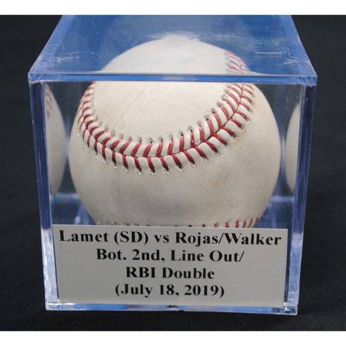 Photo of Game-Used Baseball: Dinelson Lamet (SD) vs Miguel Rojas/Neil Walker, Bot. 2nd, Line Out/RBI Double (July 18, 2019)