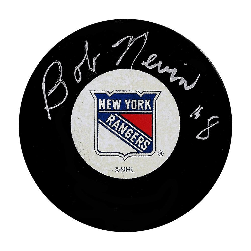 Bob Nevin Autographed New York Islanders Puck