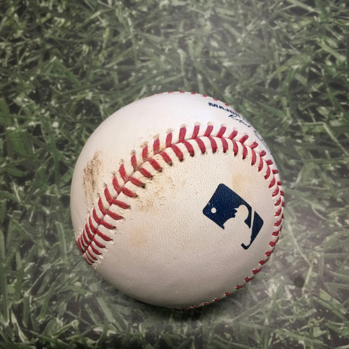 Photo of Game-Used Baseball ARI@MIL 06/04/21 - Freddy Peralta - Tim Locastro: Strikeout (9th & Final Strikeout of Game; Peralta No-Hit Bid Broken Up with One Out in 8th Inning)