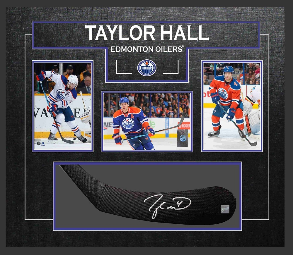 Taylor Hall - Signed  & Framed Stick Blade - Featuring Edmonton Oilers Photo Collection