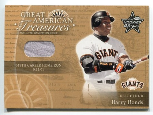 Photo of 2001 Leaf Rookies and Stars Great American Treasures #GT1 B.Bonds 517 HR Jsy/50 *