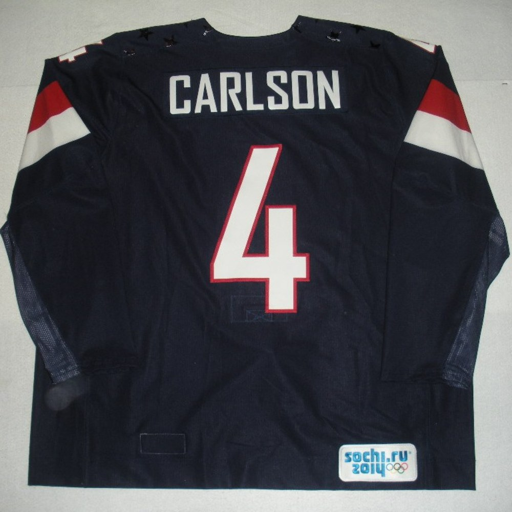 John Carlson - Sochi 2014 - Winter Olympic Games - Team USA Blue Game-Worn Jersey - Worn in 2nd Period, 3rd Period, Overtime and Shootout vs. Russia, 2/15/14
