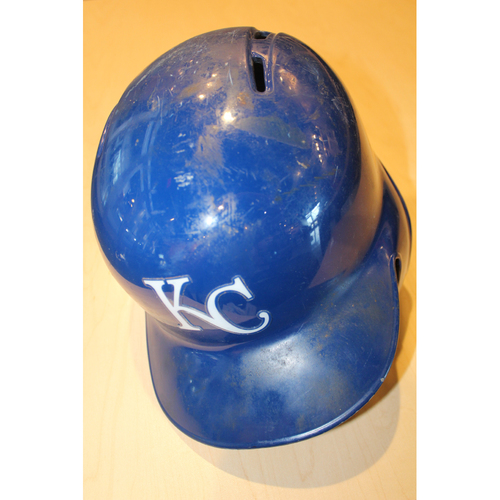 Photo of Game-Used Batting Helmet: Alcides Escobar (CLE at KC - 10/2/2016)