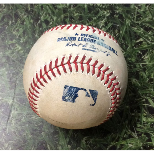 Photo of Game-Used Baseball HOU@MIL 09/03/19 - Zack Greinke - Eric Thames: Double
