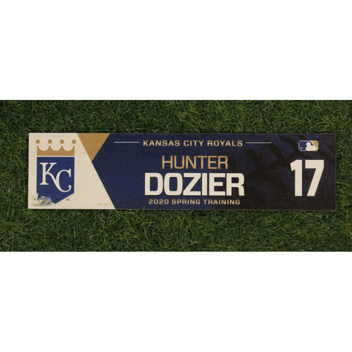 Photo of Game-Used Spring Training Locker Tag: Hunter Dozier #17