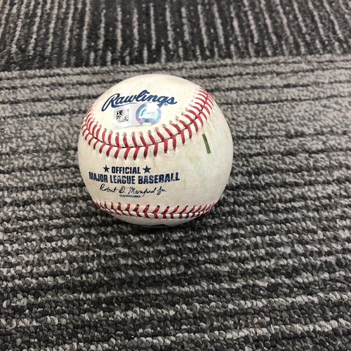 Photo of 2019 Game Used Baseball used on 4/28 vs New York Yankees - B-6: Domingo German to Joe Panik - RBI Single, Tyler Austin Scores