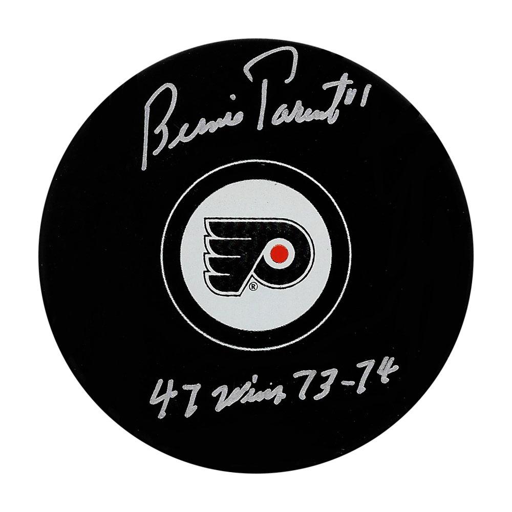 Bernie Parent Autographed Philadelphia Flyers Puck w/47 WIN 73-74 Inscription