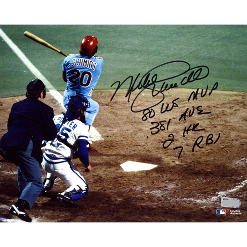 "Photo of Mike Schmidt Philadelphia Phillies Autographed 8"" x 10"" 1980 World Series Home Run Photograph with Multiple Inscriptions - Limited Edition #20 of 20"