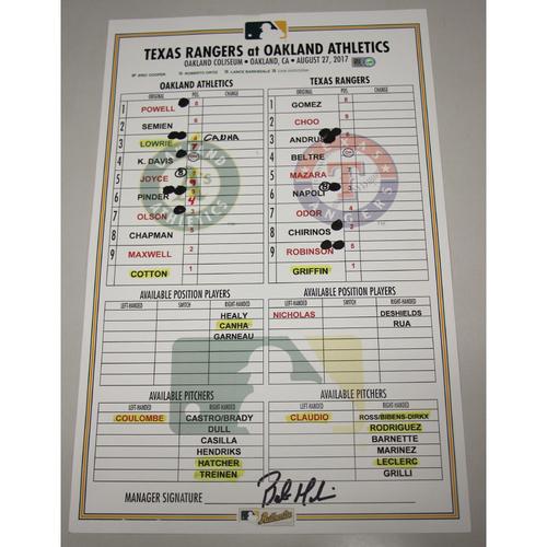 Photo of Lineup Card - 8/27/17 Texas Rangers vs Oakland Athletics