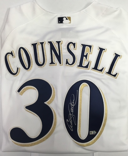 Photo of Craig Counsell Autographed Authentic Brewers Jersey