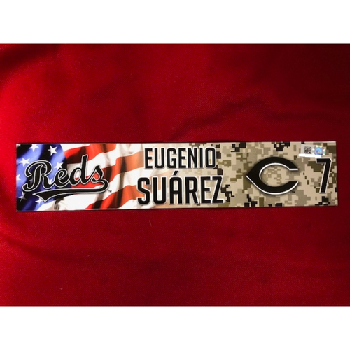 Photo of Eugenio Suarez - Game-Used - Military Appreciation Locker Tag (2018)