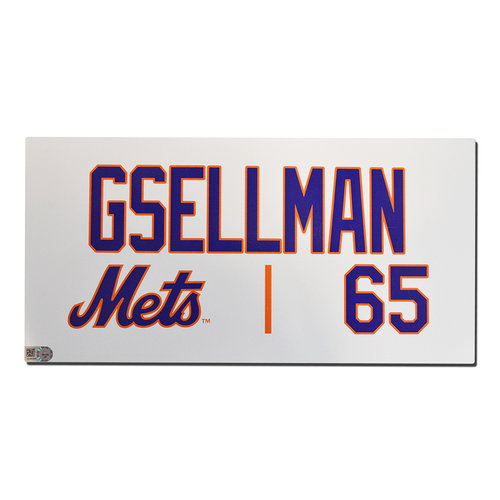 Photo of Robert Gsellman #65 - Game Used Locker Nameplate - Mets vs. Marlins - 9/29/18