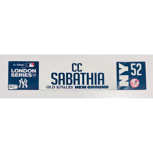 2019 London Series - Game Used Locker Tag - CC Sabathia, New York Yankees vs Boston Red Sox - 6/30/2019