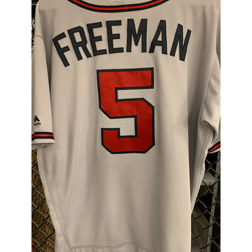 Photo of Freddie Freeman Game Used Road Grey Jersey - Worn 5/22/19 for Home Run
