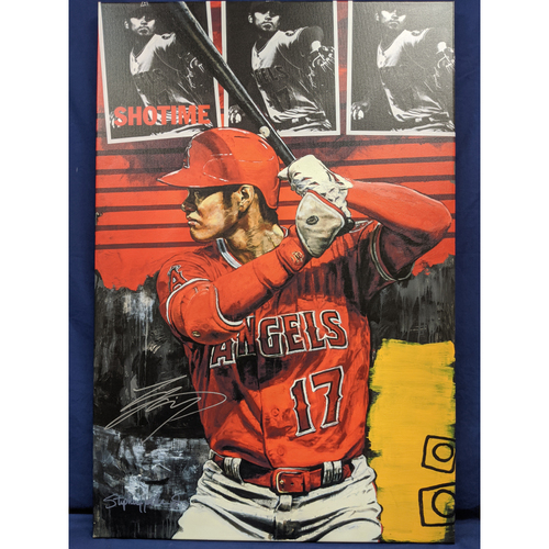Photo of Shohei Ohtani Autographed Stephen Holland Batting Giclée Canvas
