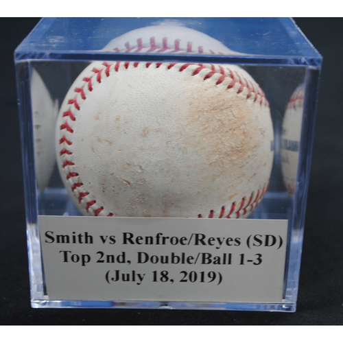Photo of Game-Used Baseball: Caleb Smith vs Hunter Renfroe/Franmil Reyes (SD), Top 2nd, Double/Balls 1, 2, 3 (July 18, 2019)