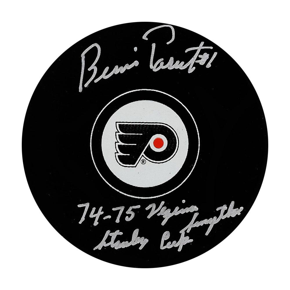 Bernie Parent Autographed Philadelphia Flyers Puck w/74-75 VEZINA, SMYTHE, STANLEY CUPS Inscription