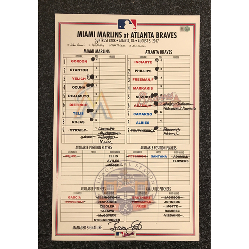 Photo of Game-Used Lineup Card - 8/5/17 - Marlins at Braves - Today Only $35!