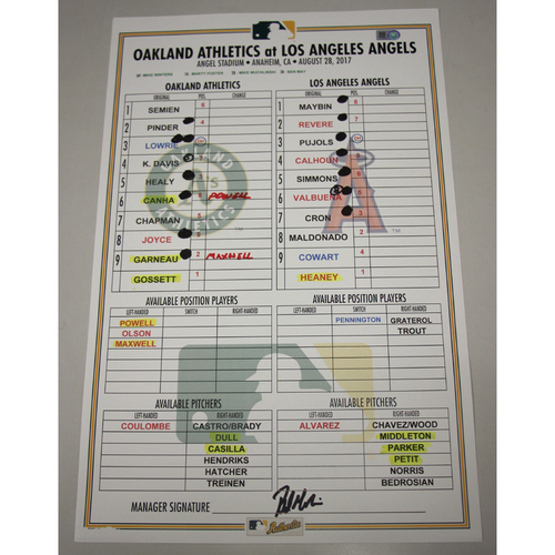 Photo of Lineup Card - 8/28/17 Oakland Athletics at Los Angeles Angels