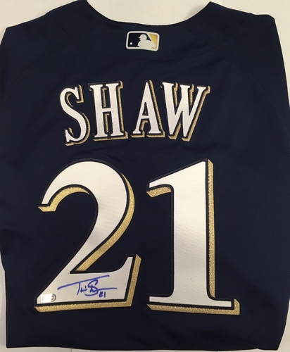 Photo of Travis Shaw Autographed Authentic Brewers Jersey