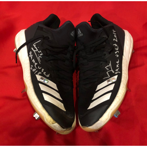 "Photo of Luis Castillo -- Autographed Cleats -- Inscribed as ""Game Used 2018"""