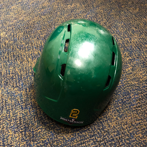 Photo of Khris Davis Game-Used Kelly Green A.L. Wild Card Game & Regular Season Helmet