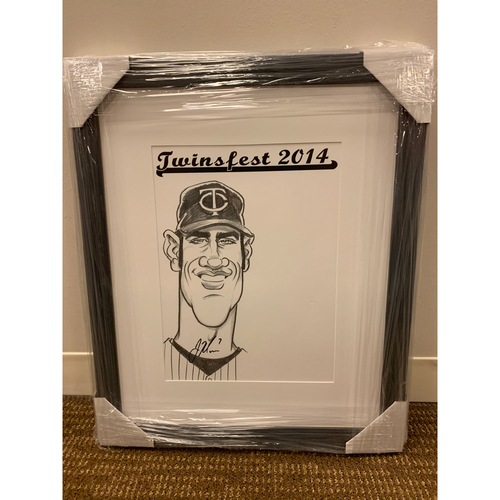 Photo of Framed Joe Mauer Autographed Caricature